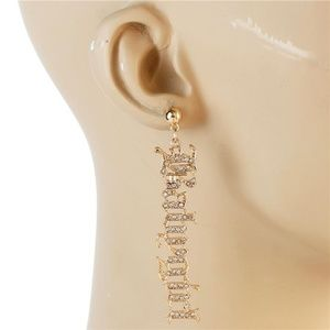 Gold Rhinestone BABYGIRL Word Dangle Earrings